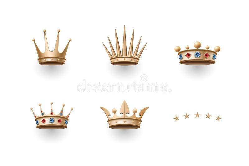 Grupo de coroa real do ouro e de cinco ícones das estrelas ilustração do vetor
