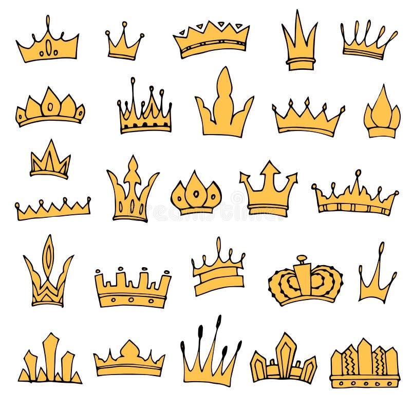 Grupo de coroas desenhados à mão ilustração royalty free