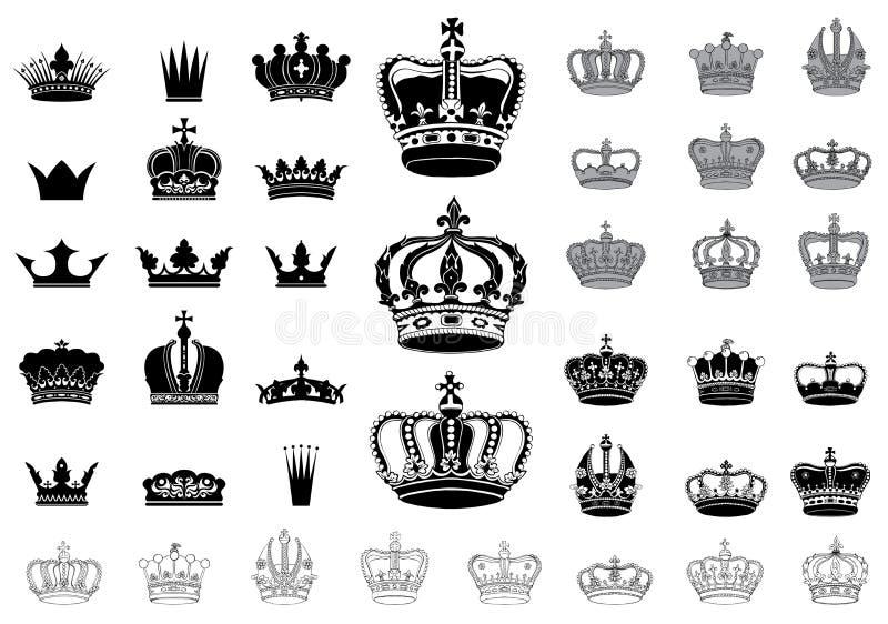 Grupo de 40 coroas detalhadas ilustração stock
