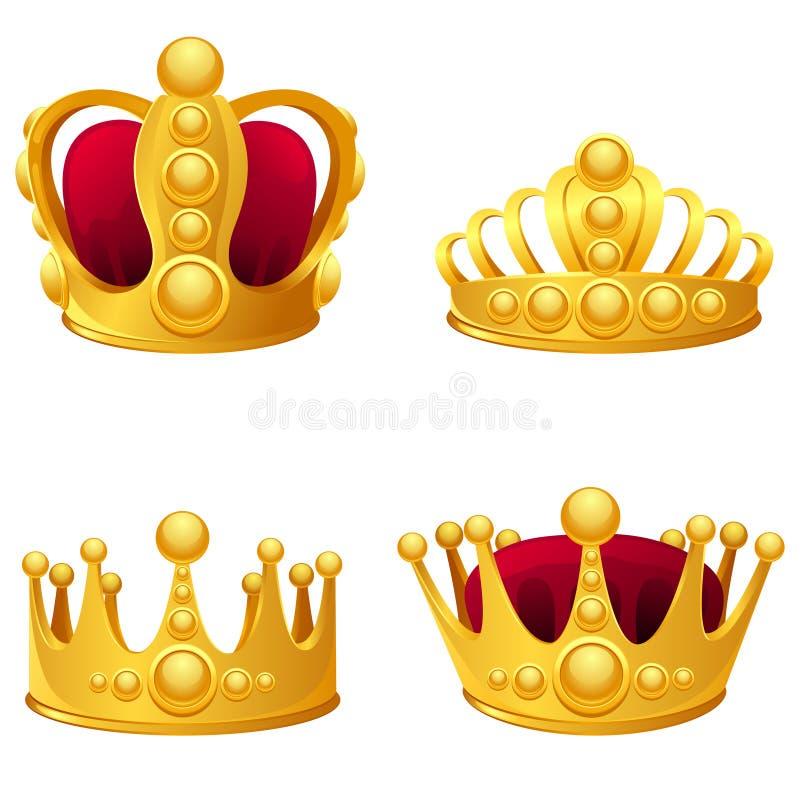 Grupo de coroas do ouro isoladas ilustração do vetor