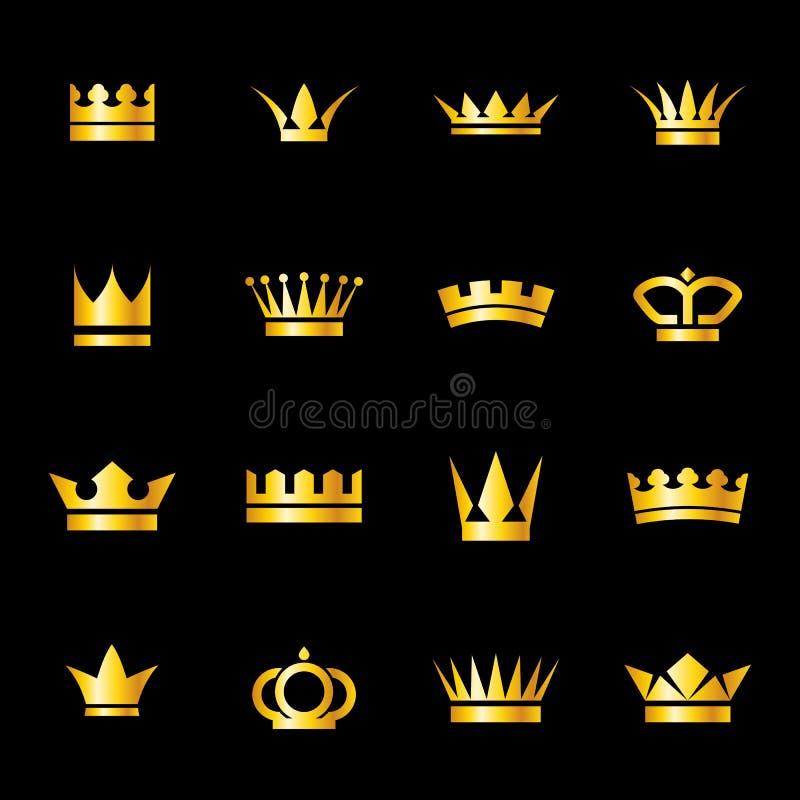 Grupo de coroas dos ícones ilustração royalty free