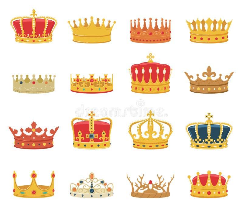 Grupo de coroas isoladas no fundo branco ilustração royalty free