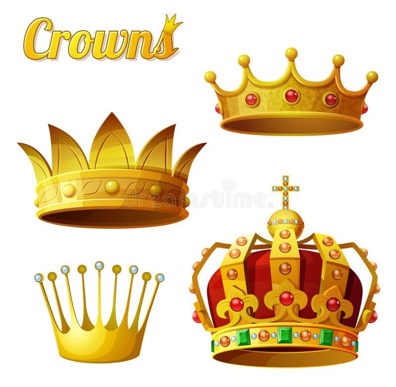 Grupo 3 de coroas reais do ouro isoladas no branco ilustração stock