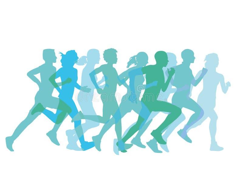 Grupo de corredores stock de ilustración