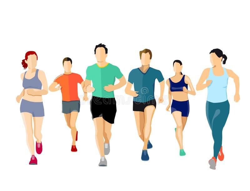 Grupo de corredores ilustración del vector