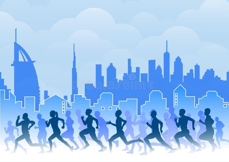 Grupo de corredores de maratona ilustração royalty free