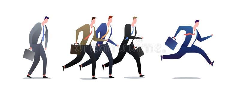 Grupo de corrida de homens de neg?cio no movimento Ra?a da carreira dos homens de neg?cios dos povos, movimentar-se e ilustra??o  ilustração royalty free