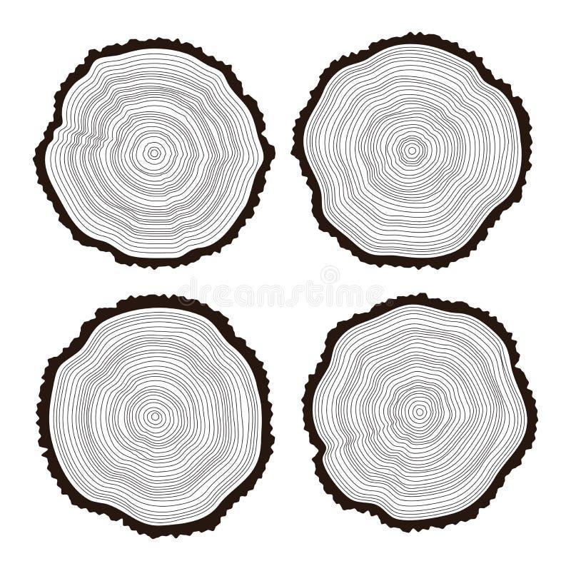 Grupo de cortes de madeira preto e branco ilustração royalty free
