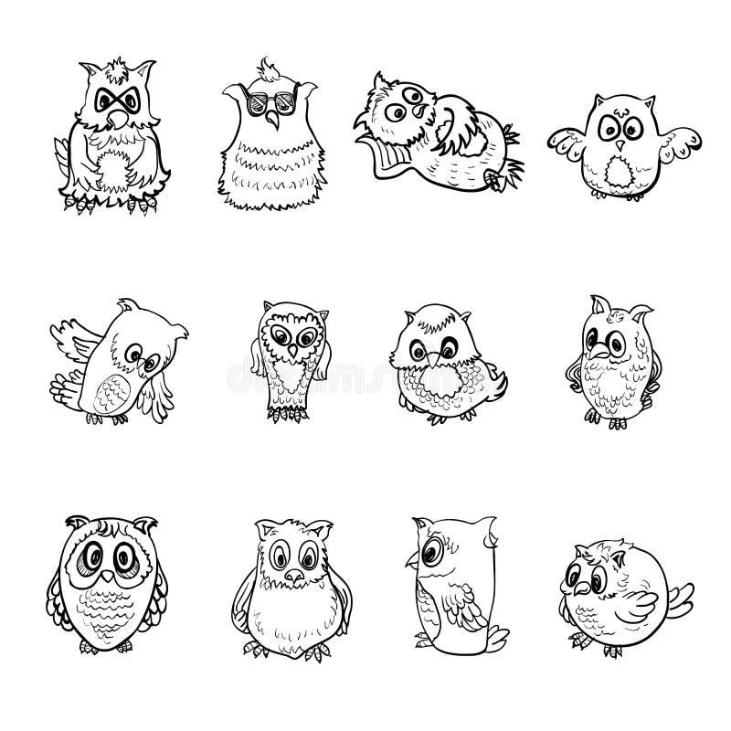 Grupo de coruja ilustração do vetor