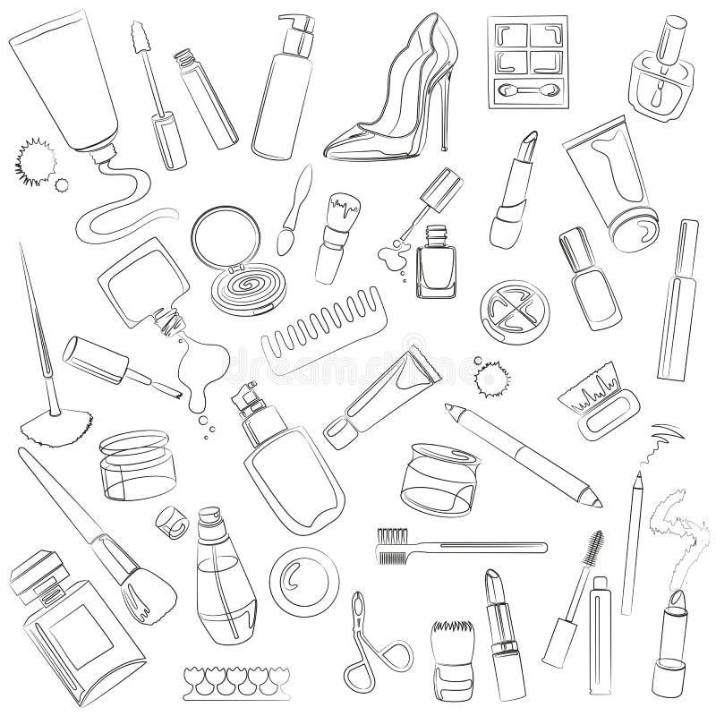 Grupo de cosmético ilustração stock