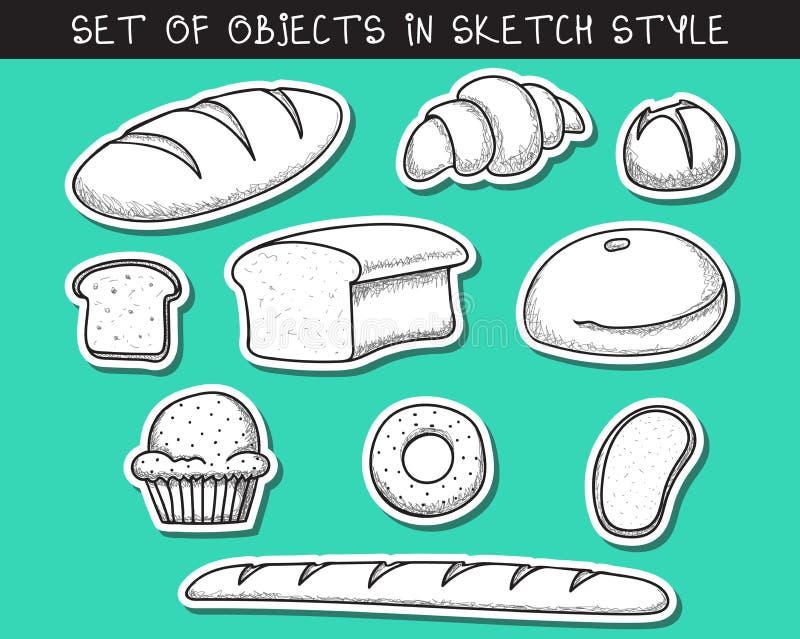 Grupo de cozimento do pão da garatuja de 10 etiquetas Baguette da garatuja ilustração do vetor