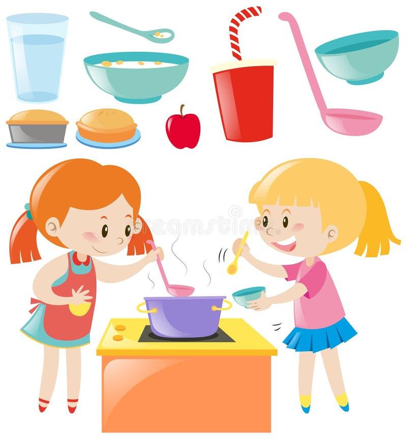 Grupo de cozimento e de alimento das meninas ilustração do vetor