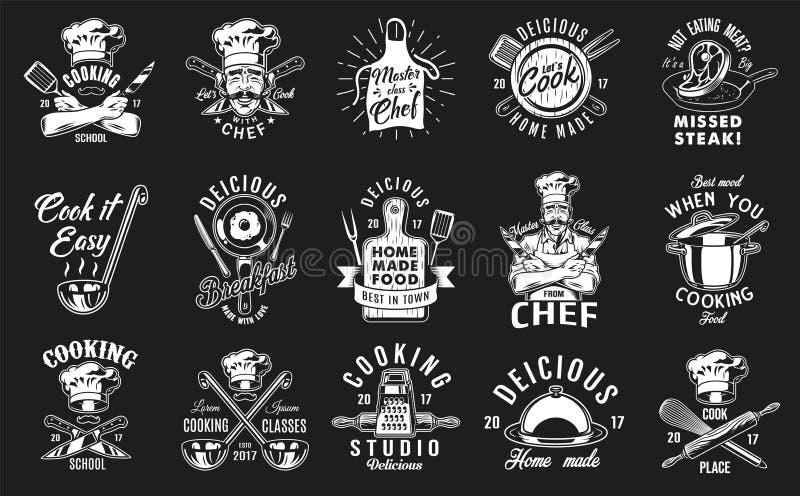 Grupo de cozinhar o emblema ilustração royalty free
