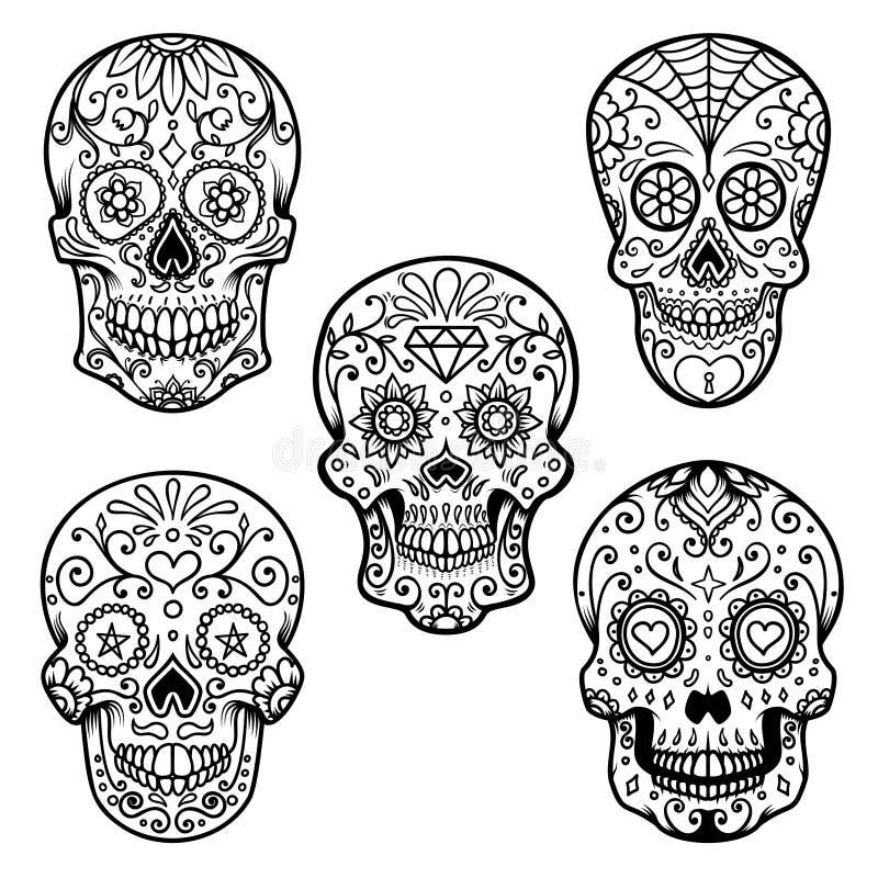 Grupo de crânio colorido do açúcar isolado no fundo branco Dia dos mortos Diâmetro De Los Muertos Projete o elemento para o carta ilustração do vetor