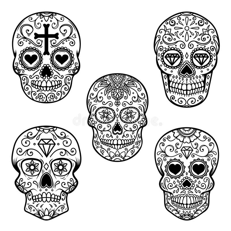 Grupo de crânio do açúcar isolado no fundo branco Dia dos mortos Diâmetro De Los Muertos Projete o elemento para o cartaz, cartão ilustração stock