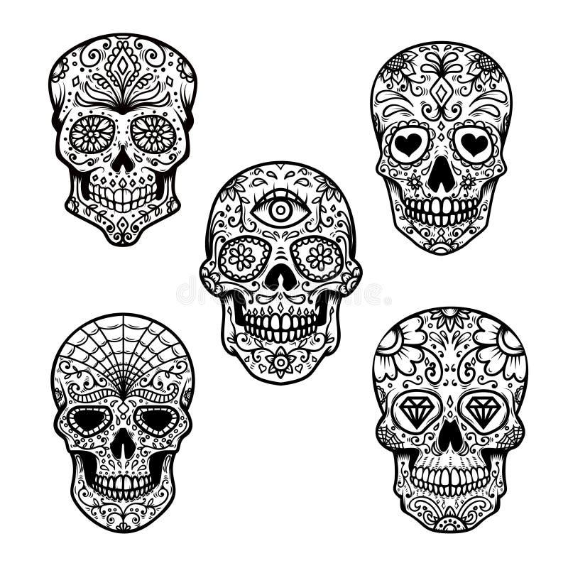 Grupo de crânio do açúcar isolado no fundo branco Dia dos mortos Projete o elemento para o cartaz, cartão, bandeira, cópia ilustração do vetor