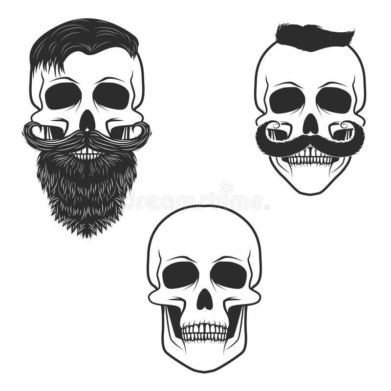Grupo de crânios com bigode e barba ilustração stock