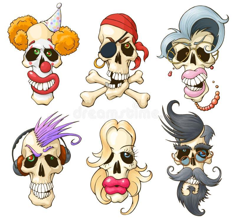 Grupo de crânios engraçados Personagens de banda desenhada diferentes Isolado no fundo branco ilustração do vetor