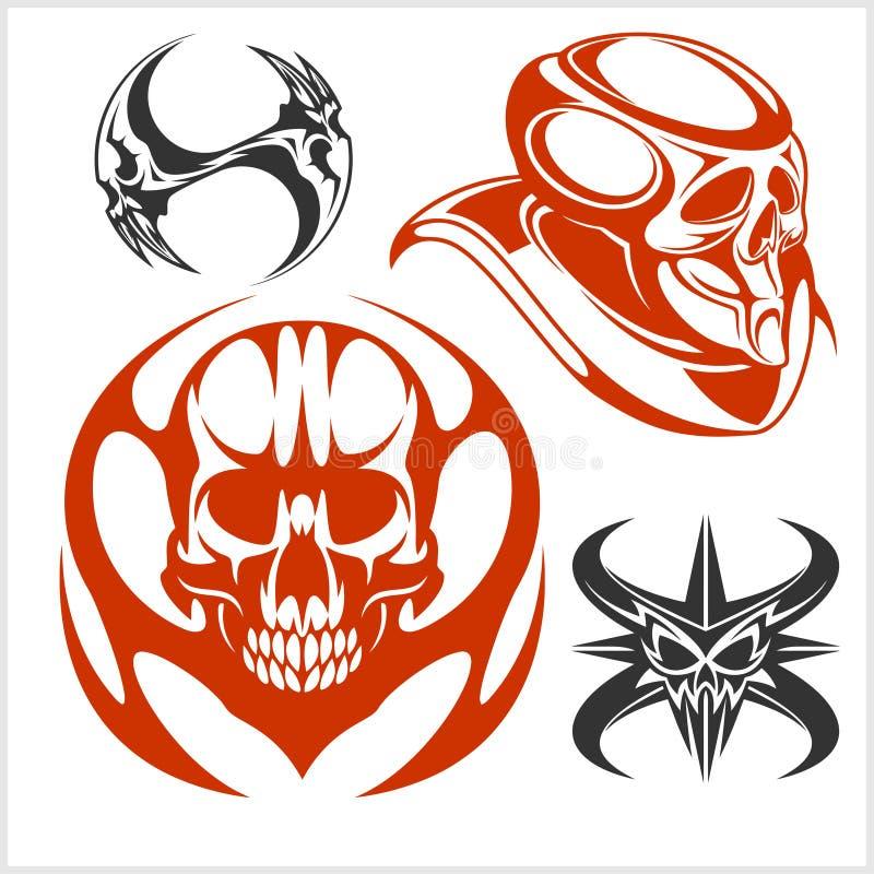 Grupo de crânios tribais para a tatuagem ilustração royalty free