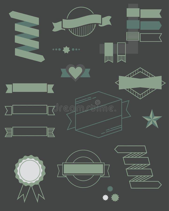 Grupo de crachá da Web, de fitas e de ícones das etiquetas ilustração royalty free