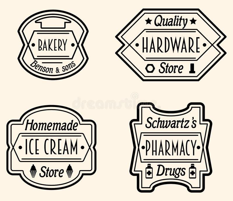 Grupo de crachá do vintage ou de Logo Design Elements, vetor Illustratio ilustração stock