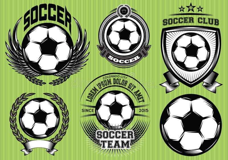Grupo de crachá Logo Design Templates do futebol do futebol ilustração do vetor