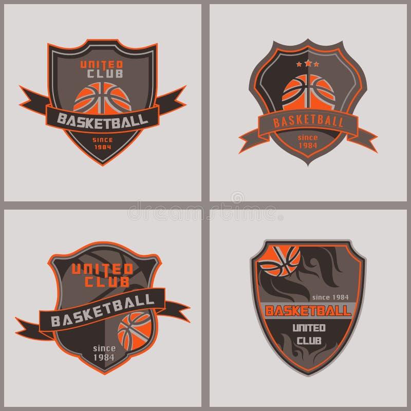 Grupo de crachá Logo Templates do basquetebol ilustração stock