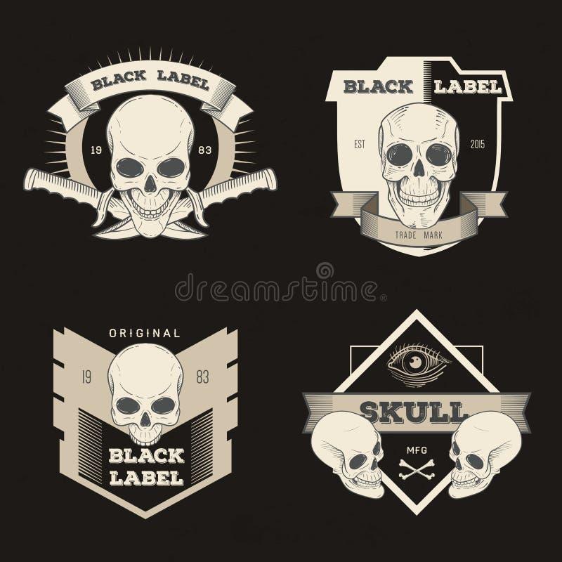 Grupo de crachá retro, de símbolo ou de logotype do vintage com crânio ilustração stock