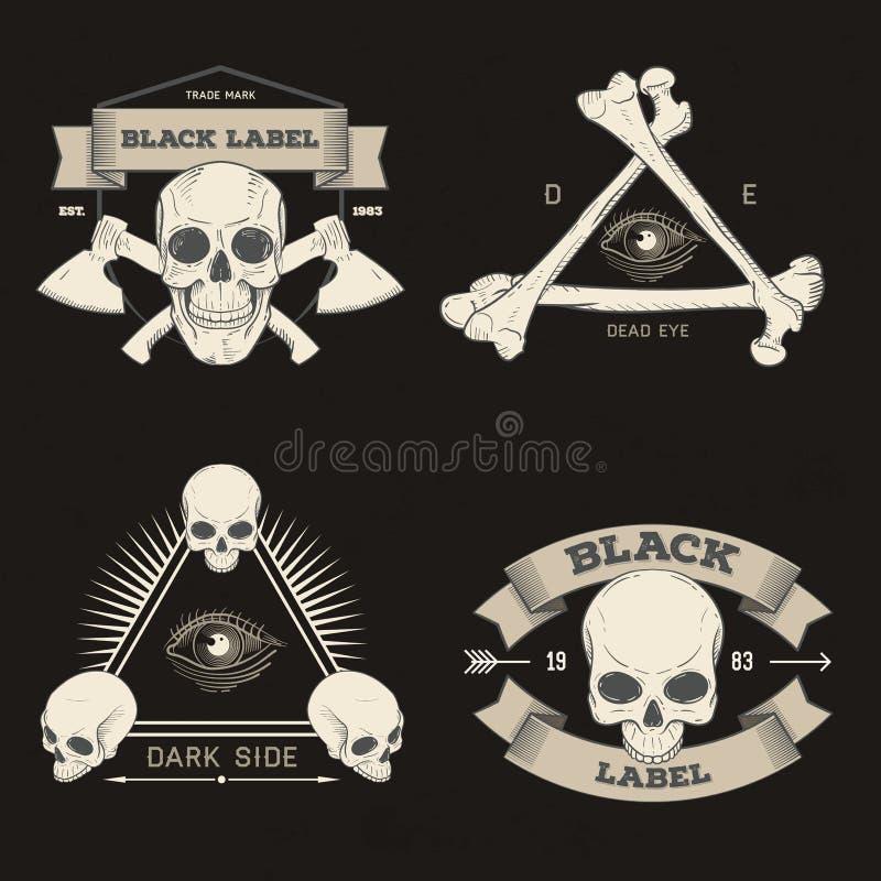 Grupo de crachá retro, de símbolo ou de logotype do vintage com crânio ilustração do vetor