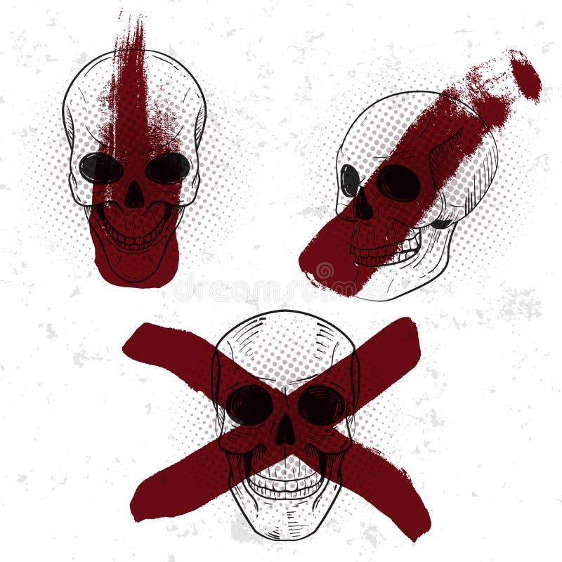 Grupo de crachá retro, de símbolo ou de logotype do vintage com crânio ilustração royalty free