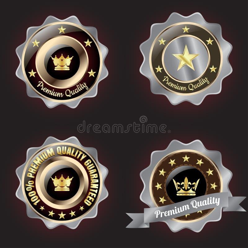 Grupo de crachá superior da qualidade da Dourado-prata ilustração royalty free
