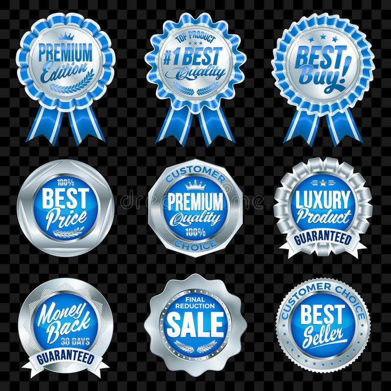 Grupo de crachás azuis da qualidade excelente com beira de prata ilustração royalty free