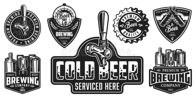 Grupo de crachás da cerveja ilustração stock