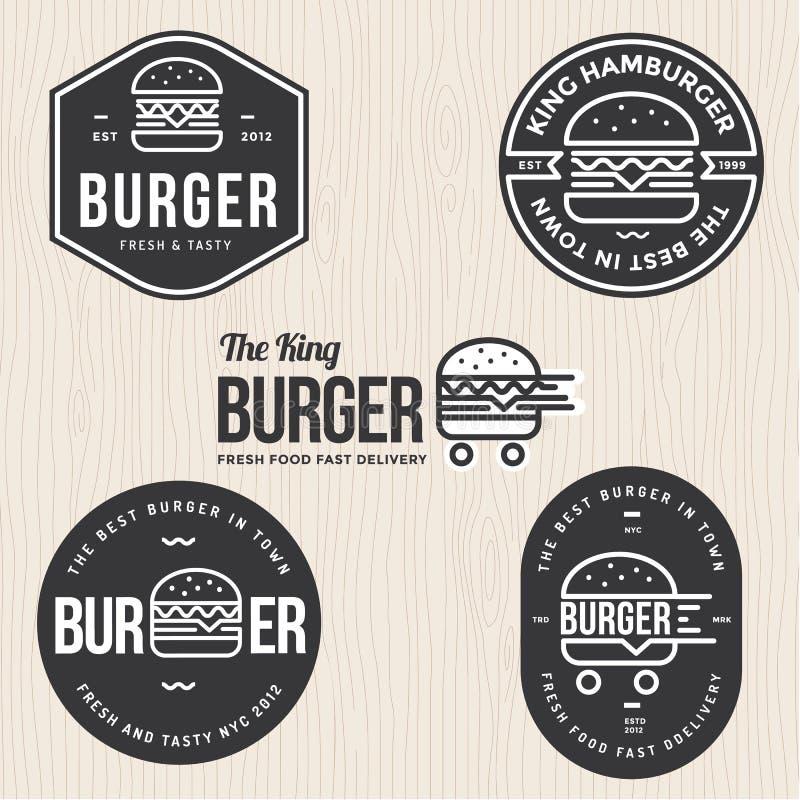 Grupo de crachás, de bandeira, de etiquetas e de logotipo para o Hamburger, loja do hamburguer Projeto simples e mínimo ilustração stock