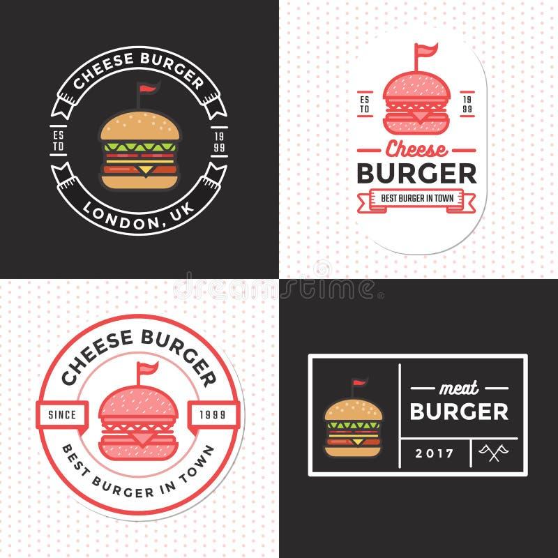 Grupo de crachás, de bandeira, de etiquetas e de logotipo para o Hamburger, loja do hamburguer Projeto simples e mínimo ilustração royalty free
