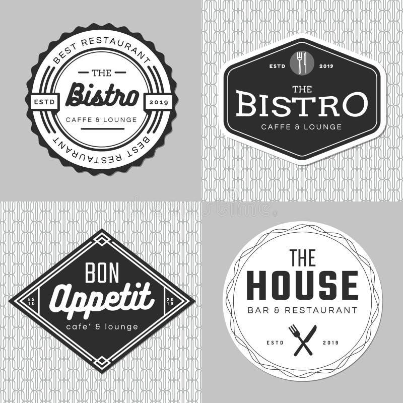 Grupo de crachás, de bandeira, de etiquetas e de logotipo para o restaurante do alimento, abastecendo Projeto simples e mínimo ilustração royalty free