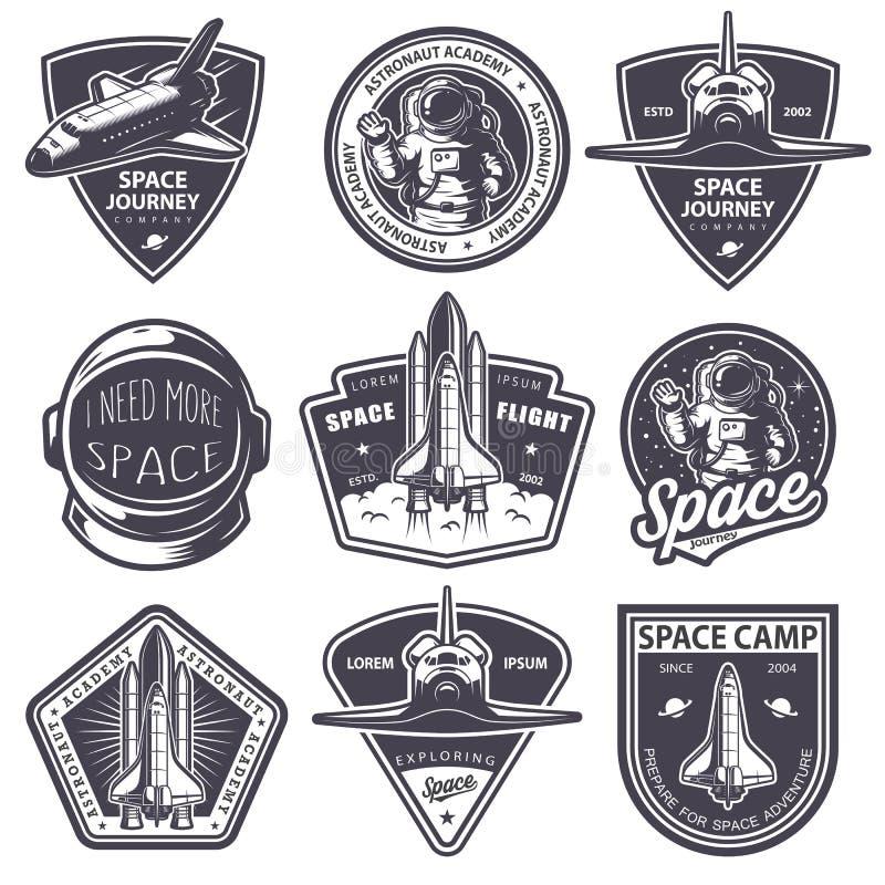 Grupo de crachás do espaço e do astronauta do vintage ilustração do vetor