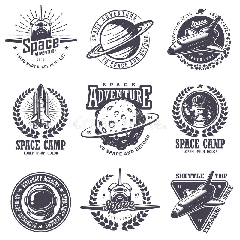 Grupo de crachás do espaço e do astronauta do vintage ilustração stock