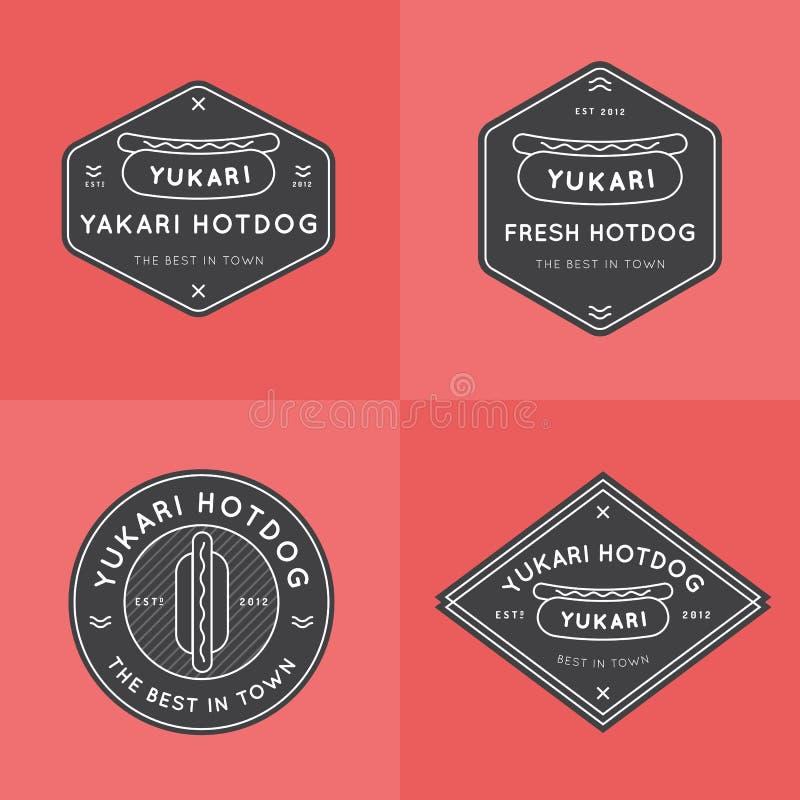 Grupo de crachás do Hotdog, de bandeiras, de emblema e de moldes do logotipo para o restaurante Projeto do esboço Projeto mínimo  ilustração stock