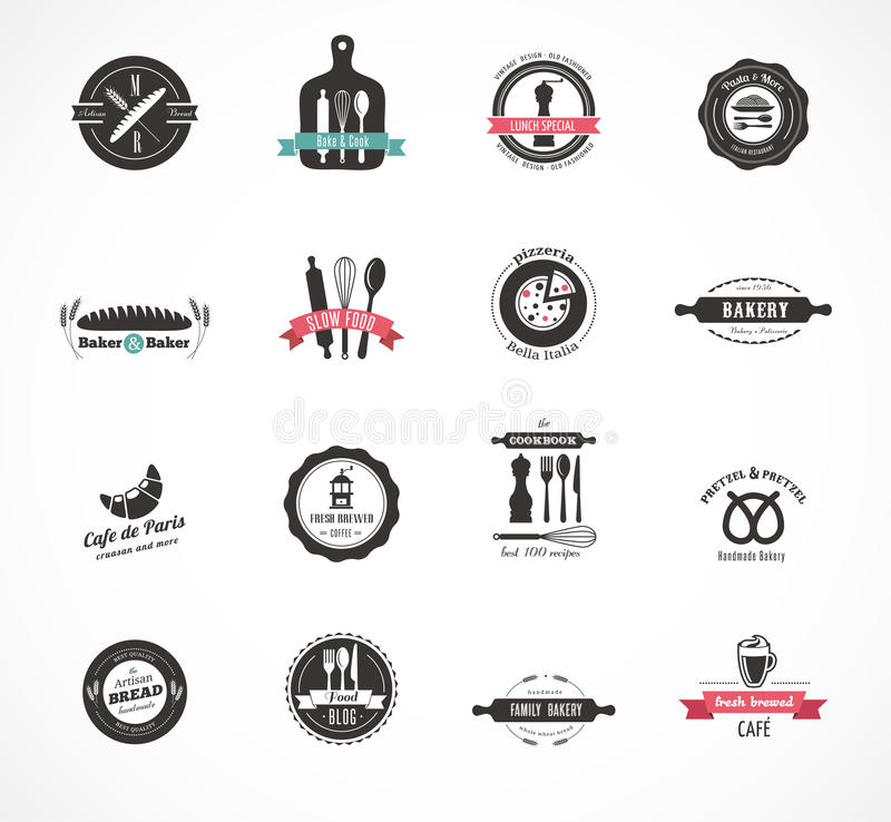 Grupo de crachás do restaurante e do alimento do vintage, etiquetas ilustração stock
