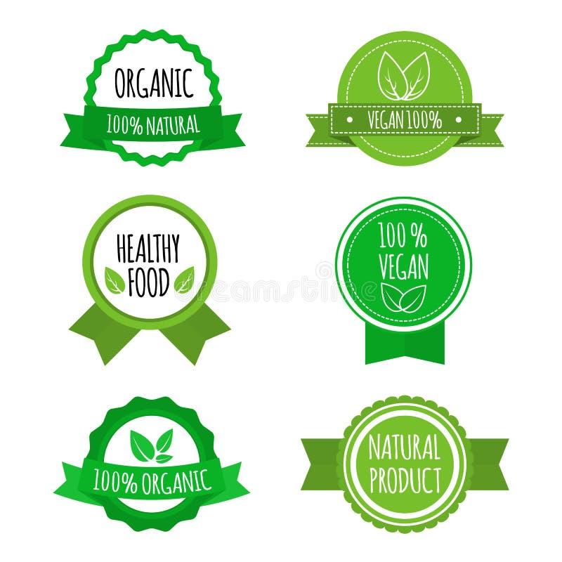 Grupo de crachás do vegetariano, ícones, etiquetas Logotipos orgânicos, saudáveis para o café, restaurantes do alimento, empacota ilustração stock