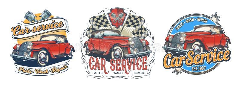 Grupo de crachás do vintage do vetor, etiquetas, signage para o serviço do carro, lavagem, loja das partes com o carro retro verm ilustração stock