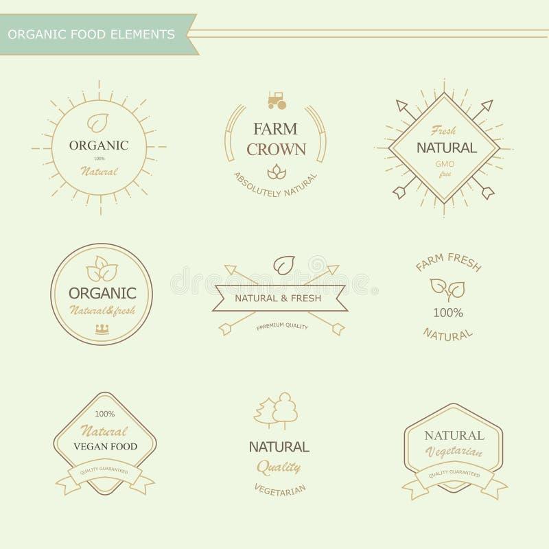 Grupo de crachás e de elementos das etiquetas para o alimento biológico ilustração do vetor