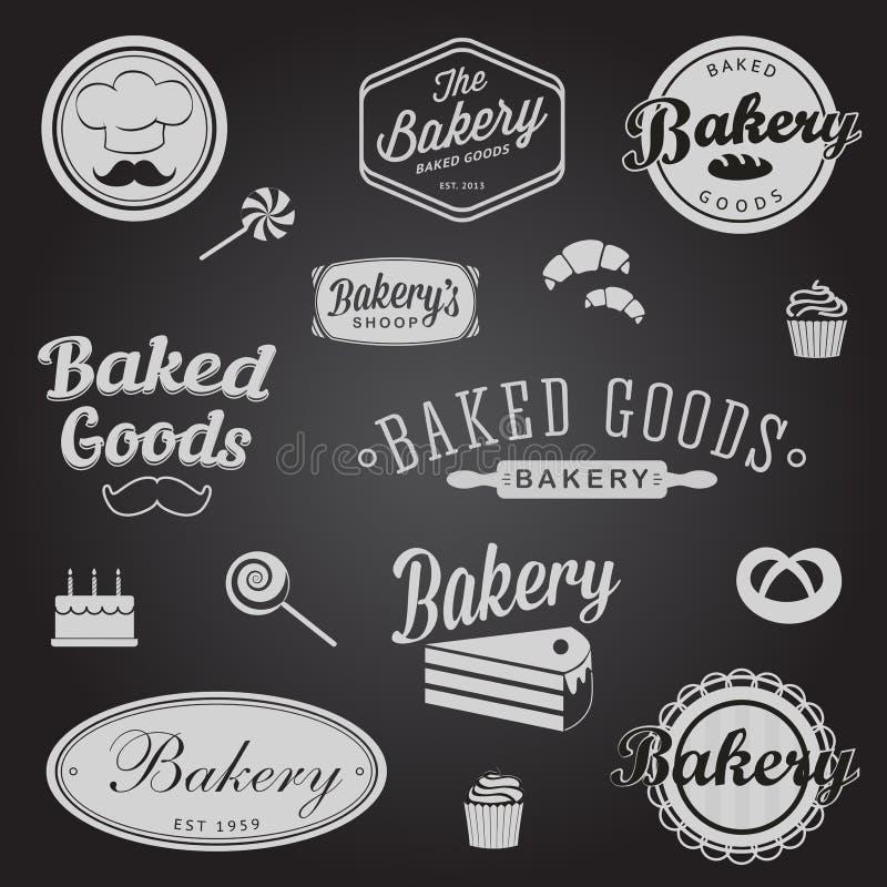 Grupo de crachás e de etiquetas da padaria do vintage ilustração royalty free