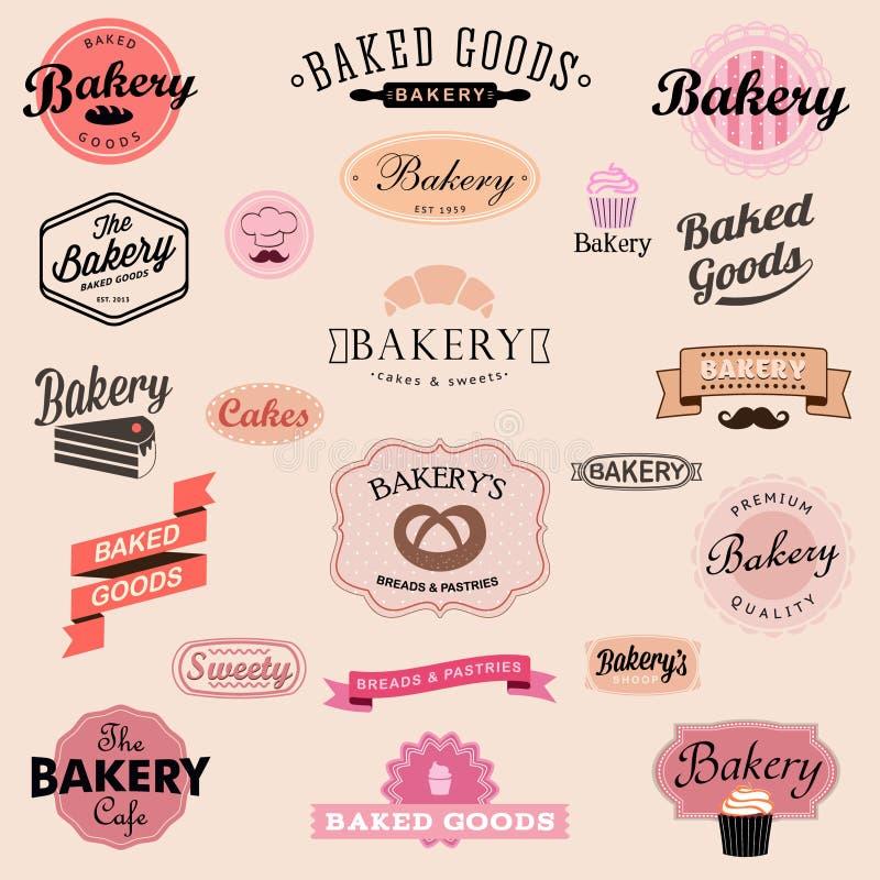 Grupo de crachás e de etiquetas da padaria do vintage