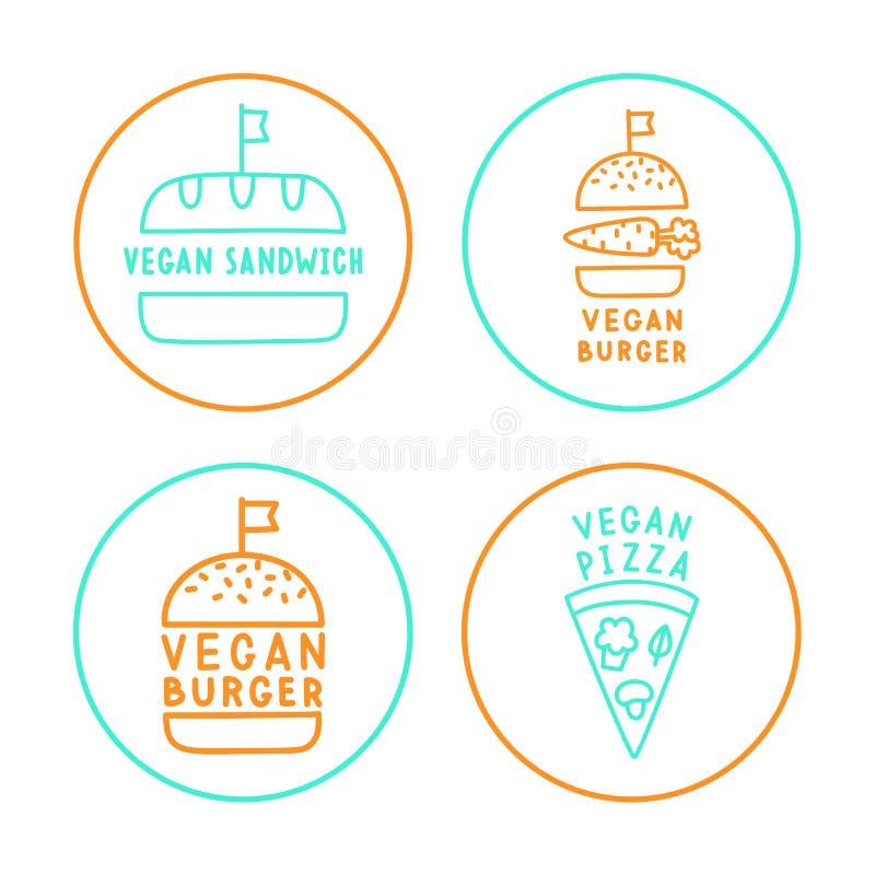 Grupo de crachás lineares do vegetariano ilustração stock