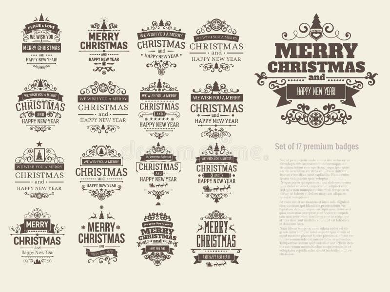 Grupo de 17 crachás retros do Natal do vintage ilustração royalty free