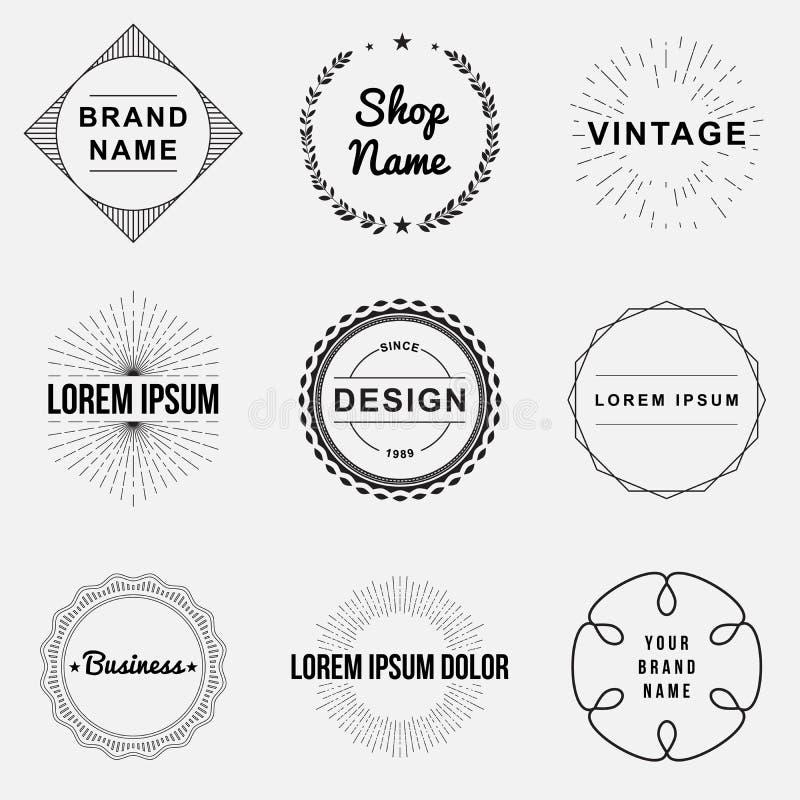 Grupo de crachás retros do vintage e de gráficos do logotipo da etiqueta ilustração do vetor