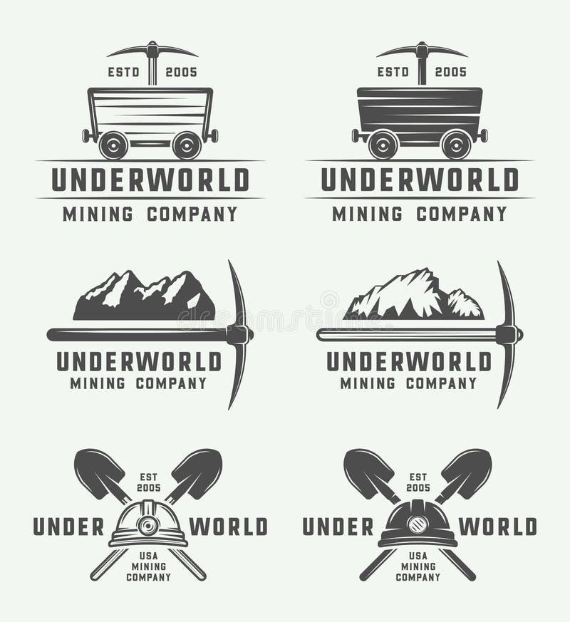 Grupo de crachás retros e de etiquetas do logotipo da mineração ou da construção ilustração do vetor