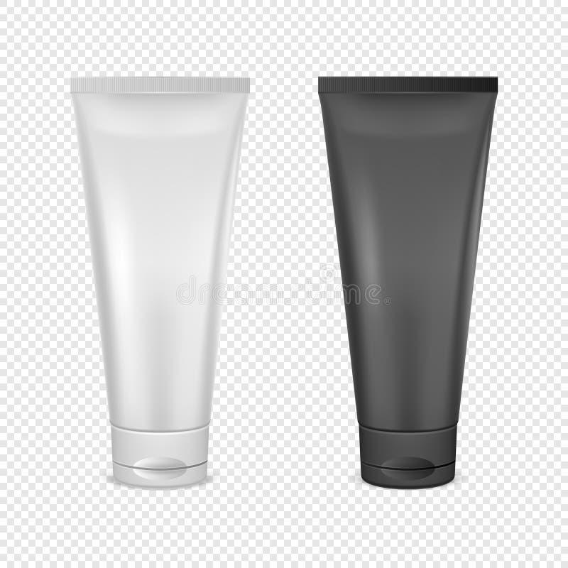 Grupo de creme branco e preto do ícone do tubo Close up do molde do projeto no vetor O modelo para marcar e anuncia isolado sobre ilustração royalty free